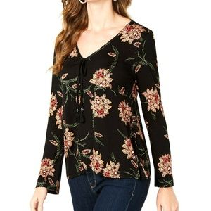 Style & Co Long Sleeve Front Tassel Blouse Small